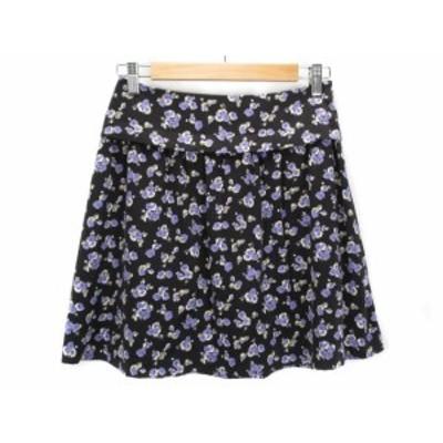 【中古】クローラ crolla スカート フレア 花柄 36 黒 ブラック レディース