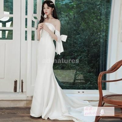 ウエディングドレス イブニングドレス ウェディングドレス 安い お呼ばれ 結婚式 STAR ロングドレス ウエディング 白 カクテルドレス マーメイドドレス
