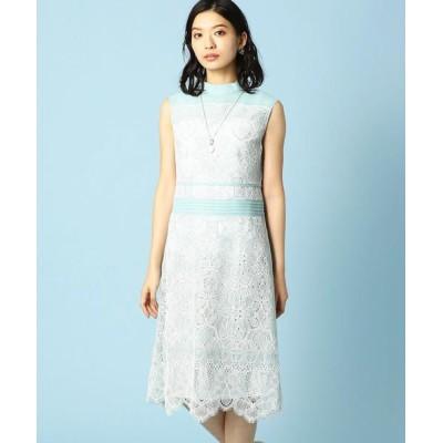 LUMINOSO COMMECA/ルミノーゾ・コムサ ラッセルレース ドレス ミント×ホワイト 9号