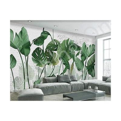 新品 壁紙 3D 北欧 手描き レンガ 壁 植物 バナナリーフ ロングスタイル リビングルーム テレビ背景 3D 450X300cm w