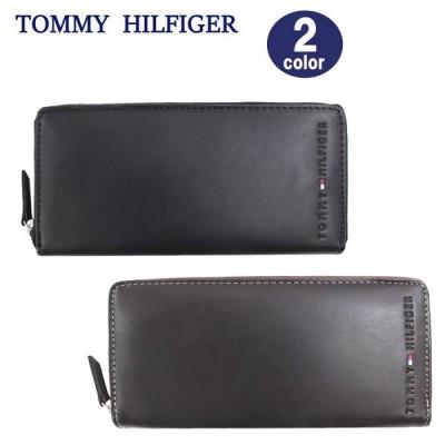 トミーヒルフィガー 長財布 31TL13X015  TOMMY HILFIGER レザー ラウンドファスナー 長財布 型押しロゴ メンズ ag-883000 ブランド