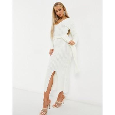 ファッションキラ レディース ワンピース トップス Fashionkilla knitted plunge front belted midi dress in ecru Cream