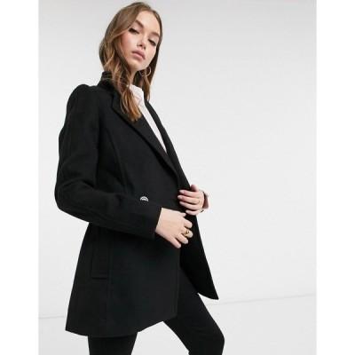 エバニュー レディース ジャケット&ブルゾン アウター Ever New short wrap tie smart jacket in black Black