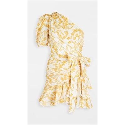 ワンピース デイドレス レディースCharina Sarte Naomi One Shoulder DressWhite/Yellow Embroid