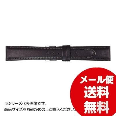 時計バンド ベルト交換 MIMOSA ミモザ 時計バンド EMカーフ 21cm ブラック 美錠:銀 CEM-A21