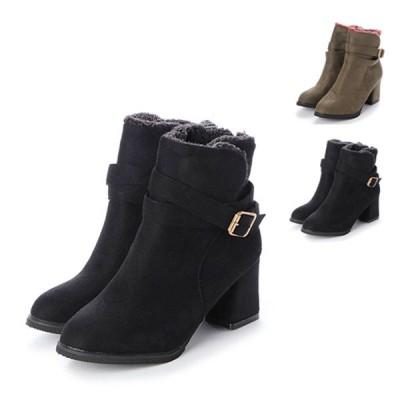 ブーツ ショートブーツ チャンキーヒール 裏起毛 太ヒール ベルト付き ハイヒール 靴 シューズ レディース