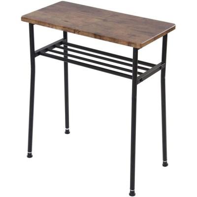 ナルミ(narumikk) サイドテーブル ブラウン 48×24×55cm レトロな長角テーブル 27-345