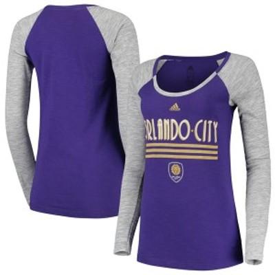 アディダス レディース Tシャツ トップス Orlando City SC adidas Women's Drop Shadow Raglan Long Sleeve T-Shirt Purple