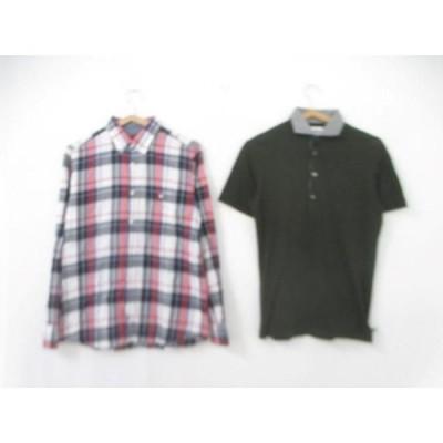 良品  タケオキクチ TAKEO KIKUCHI ポロシャツ 長袖シャツ 無地 チェック など 2点セット 2 3 メンズ