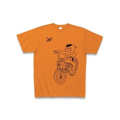 コンビニ帰りの猫とトンボ Tシャツ(オレンジ)