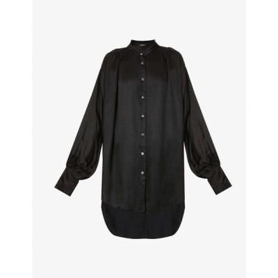 アンドゥムルメステール ANN DEMEULEMEESTER レディース ブラウス・シャツ トップス Frilled-collar crepe-satin shirt Nanette Black