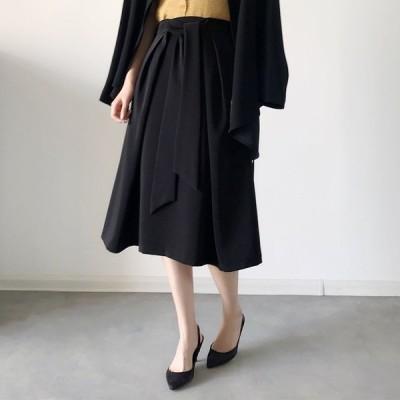シックなギャザースカート レディース ギャザースカート エレガント ハイウエスト Aライン ウエストリボンスカート