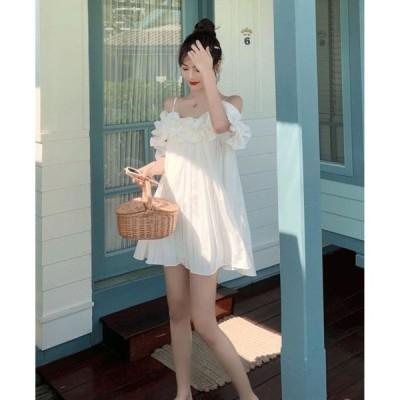 春夏 ドレス ミニドレス ノースリーブ キャミワンピ ホワイト 無地 プリーツ ガーリー セクシー