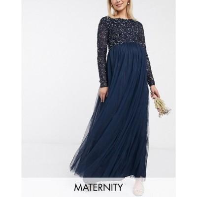 マヤ マタニティ Maya Maternity レディース ワンピース マキシ丈 Bridesmaid long sleeve maxi tulle dress with tonal delicate sequins in navy ネイビー