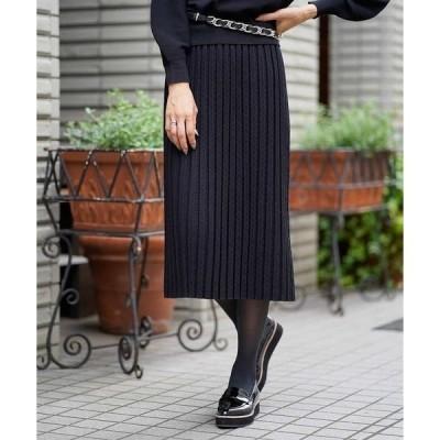 スカート 【InRed11月号掲載/洗える/セットアップ対応】レーヨンストレッチニットジャカードスカート