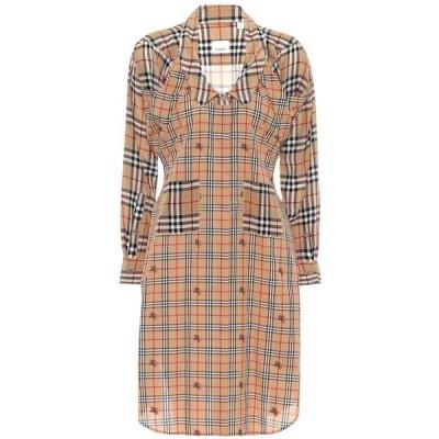 バーバリー Burberry レディース ワンピース シャツワンピース ワンピース・ドレス checked silk shirt dress Archive Beige