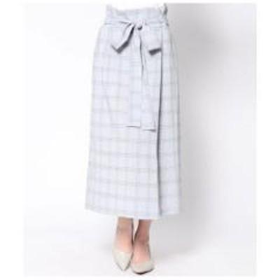 AULI(アウリィ)チェック柄ラップ風スカート【お取り寄せ商品】