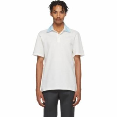 ランバン Lanvin メンズ ポロシャツ トップス White Grosgrain Polo Optic white