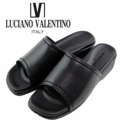 即納【送料無料】日本製 LUCIANO VALENTINO ITALY ルチアーノ バレンチノ コンフォートサンダル レディース 歩きやすい 黒 厚底サンダル