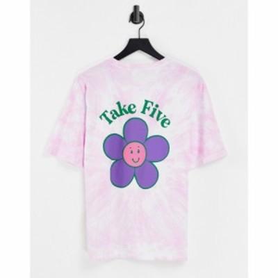 エイソス ASOS DESIGN レディース Tシャツ トップス oversized t-shirt with take five in pink tie dye ピンク