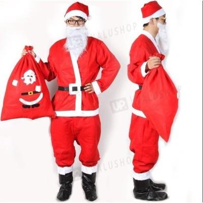 クリスマス コスプレ サンタ 衣装 安い トップス ズボン 帽子 ひげ サンタコスチュームセット メンズ 男性 サンタクロース