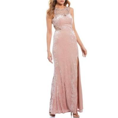 シティヴァイブ レディース ワンピース トップス Sleeveless Crochet-Inset Glitter Velvet Long Dress