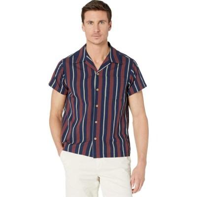ネイキッド アンド フェイマス Naked & Famous メンズ シャツ トップス Aloha Shirt Chambric Stripes/Navy/Brick