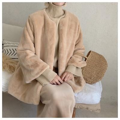 🌈オールシーズン使えます😘👍INSスタイル 2020冬 新しいスタイル 暖かさ ファー フェイクラビットファー コート ミンクファー ゆったりする 百掛け コート ラウンドネック ホーンスリーブ
