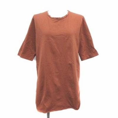【中古】エイトン ATON Tシャツ カットソー ロング 半袖 2 M 茶 ブラウン /YM レディース
