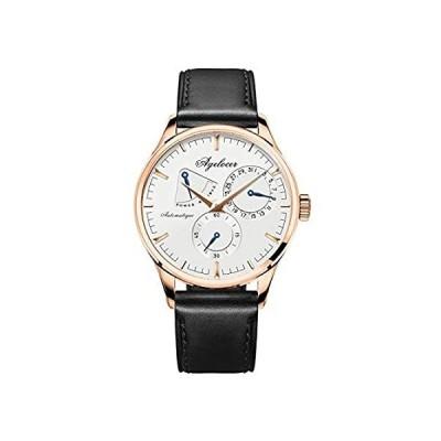 Agelocer メンズ トップブランド ステンレススチール 自動機械式腕時計 カレンダー パワーリザーブ ダイヤル アナログ メンズウォッチ AGL並行輸入品