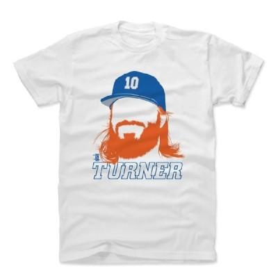 ジャスティン・ターナー Tシャツ MLB ドジャース プレーヤー アートコットン ロサンゼルス 半袖 ホワイト 500LEVEL