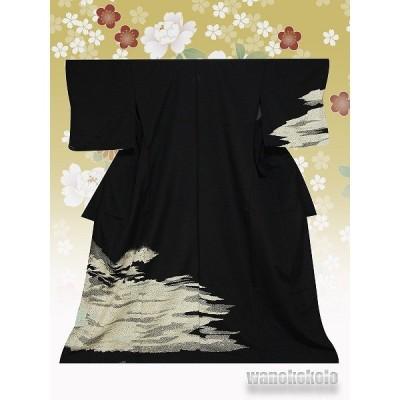 洗える着物 [単衣の附下] 国産 [L] 黒系/霞柄[HTK-295]