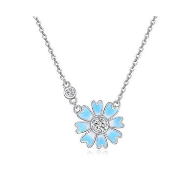 Blue Daisy Necklace 925?Sterling Silver Necklace with 2 Zircons for Birthda