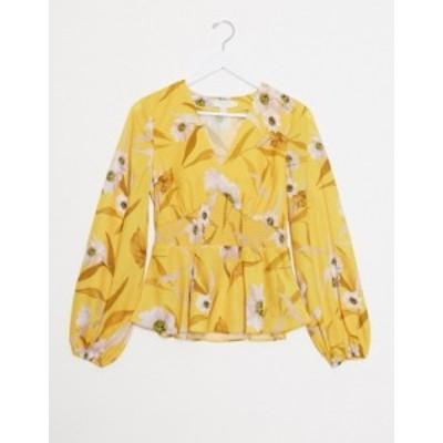 テッドベーカー レディース シャツ トップス Ted Baker saniyah cabana smocked waist floral blouse Yellow