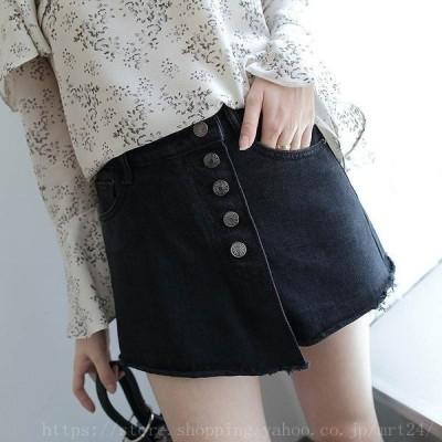 レディースデニムスカート台形スカートハイウエストショートパンツ短パンジーンズミニ丈ブラックSMLXLサイズ