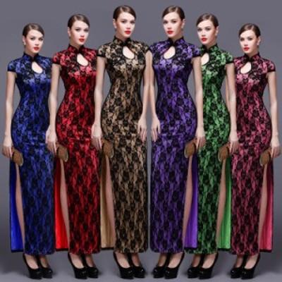 高品質  チャイナドレス キャバドレス ナイトドレス パーティードレス ロングドレス ワンピース コスチューム ハロウィン  スリット D063