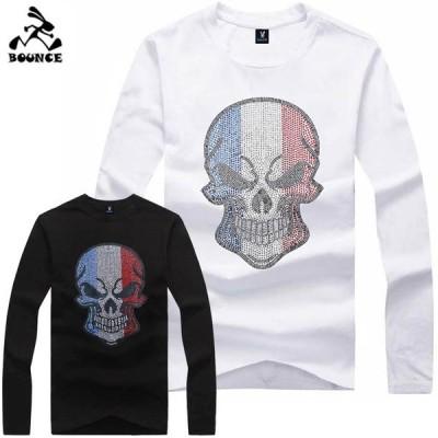 新作 送料無料 BOUNCE バウンス  FRANCE フランスドクロ ラインストーンロゴ オリジナル メンズ ながそで 長袖Tシャツ DISCO-J