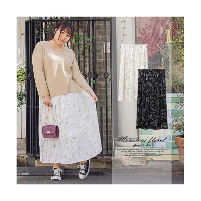 【クレット(大きいサイズ)】 モノトーン花柄プリーツスカート レディース ブラック 3L clette