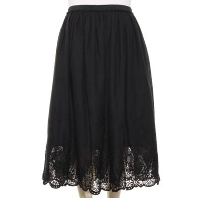 QUINTY[大きいサイズ] (クインティ) レディース 裾刺しゅうスカート ブラック 8L~9L