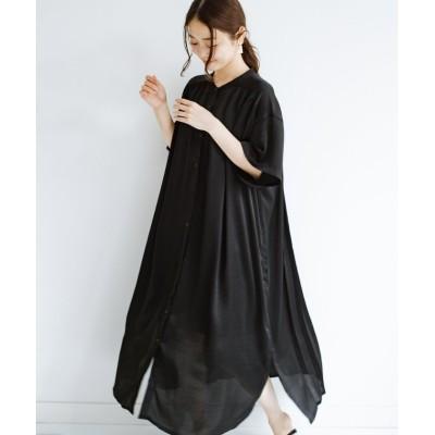 【ハコ】 羽織としてもワンピースとしても着られちゃう 後ろ姿まで抜かりなくかわいいプリーツワンピース レディース ブラック S haco!