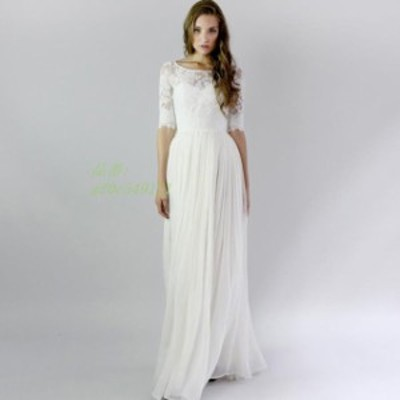 パーティードレス 結婚式 5分袖 レース ウェディングドレス ホワイト 披露宴 花嫁ドレス 挙式 プリンセス ロングドレス ブライダル 二次