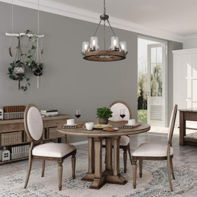 LNC Wood Farmhouse Chandeliers for Dining Rooms Rustic Round Light Fix