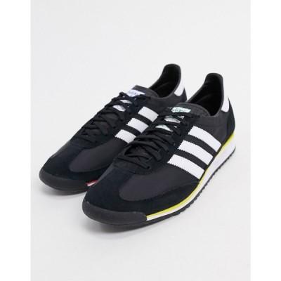 アディダス adidas Originals メンズ スニーカー シューズ・靴 SL 72 trainers in black suede ブラック