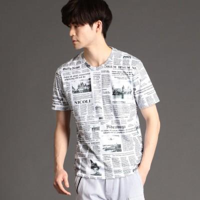 ハイダウェイ HIDEAWAYS ニュースペーパープリントTシャツ (09ホワイト)
