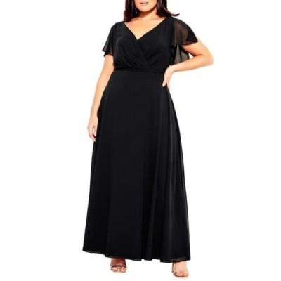 シティーシック レディース ワンピース トップス Sweet Wishes Maxi Dress (Plus Size) BLACK
