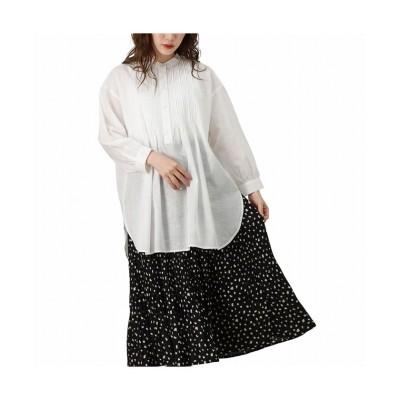 (MAC HOUSE(women)/マックハウス レディース)NAVY ネイビー ピンタックチュニックシャツ MSL2137-G/レディース ホワイト