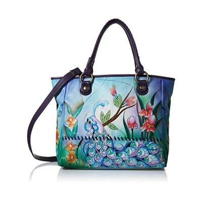 Anna by Anuschka Hand Painted Leather Women's Large Tote, midnight peacock【並行輸入品】