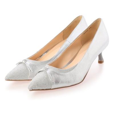 ジルスチュアート シュー JILLSTUART shoe リボンモチーフ素材コンビポインテッドトゥパンプス (シルバーコンビ)