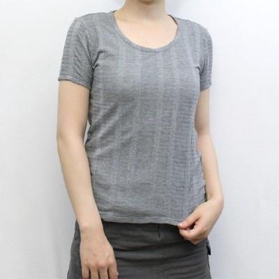 レディース ジャガード編みTシャツ(中国製) (トップス カットソー 半袖 インナー 春夏)