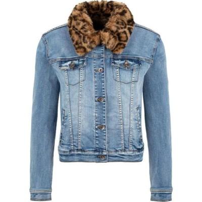 トリバル Tribal レディース ジャケット ファーコート アウター Jean Jacket with Removable Faux Fur Collar Dark Vintage